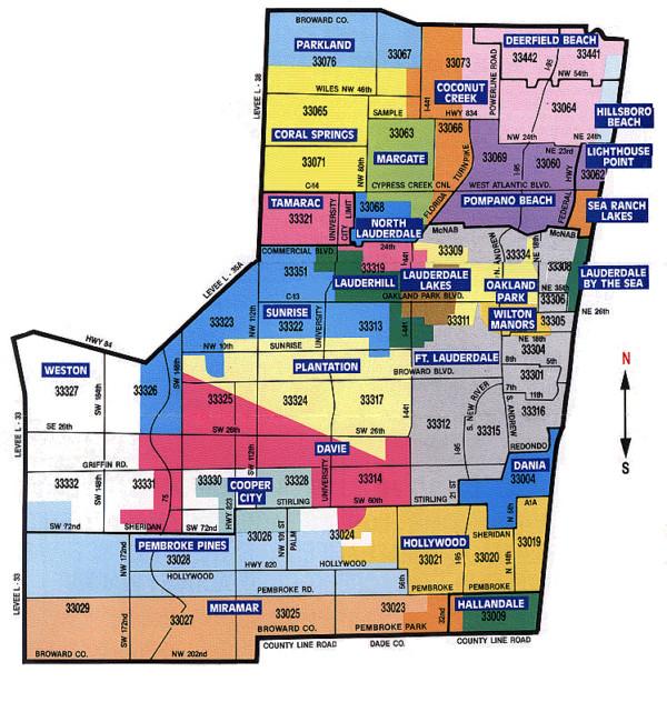 Carte du Comté de Broward, en Floride