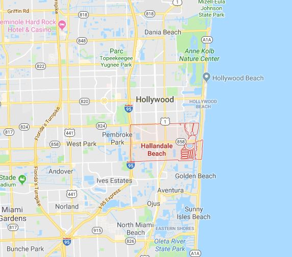 Carte comté de Broward Hallandale Hollywood Dania Québécois de Floride