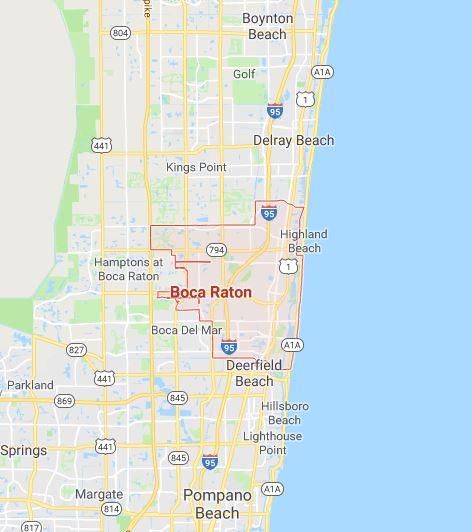 Carte de Boca Raton, en Floride