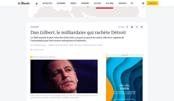 Le Monde, Detroit, immobilier, Dan Gilbert