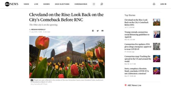 les médias Américains décrivent Cleveland comme la ville du come-back